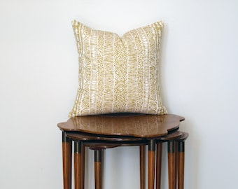Graphic Boho Tribal Print Pillow Cover, in Mustard + White