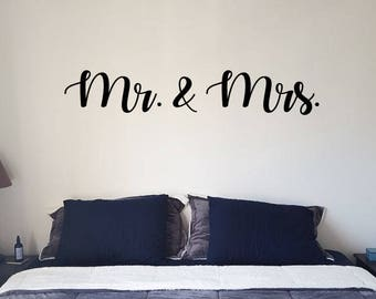 Mr. & Mrs. Vinyl wall decal sticker, Vinyl Wall Decal Decor, Bedroom Wall Decor, Home And Living, Gifts For Christmas