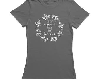 Getting Ripped Before I Hitched White Flower Women's Charcoal T-shirt
