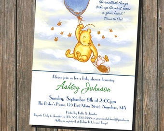 Smallest Things Take Up Most Room In Your Heart - Classic Winnie the Pooh Themed Baby Shower Invitation 5x7 Printable (digital file)