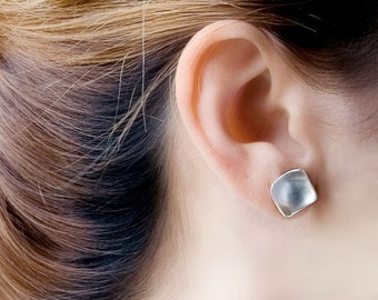 Sterling Silver Stud Earrings, Square Stud Earrings, Square Earrings, Silver Matte Earrings, Geometric Earrings, Delicate Large Stud Earring