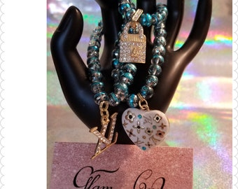 Blue Locket Charm Bracelet Set