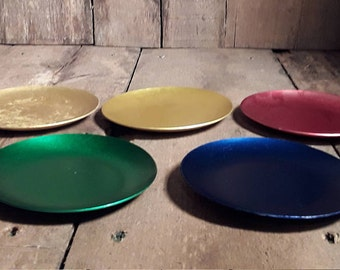 Vintage 1950s Retro Anodised Aluminium Coasters Set of 5-- Green, Red, Blue & 2 Gold's