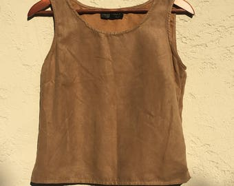 copper brown faux-suede tank top (s)