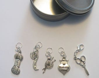Knitter Themed Sealed Ring Stitch Markers with a Lobster Claw Progress Keeper.