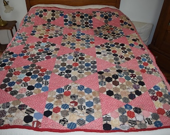Antique hexagon pattern quilt late 1800s early 1900s