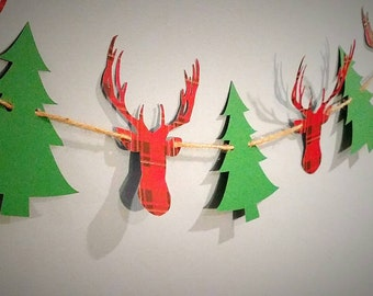 Christmas party banner, holiday banner, lumber jack party, camping party, woodland party, buffalo plaid, stag party, buck banner, deer party
