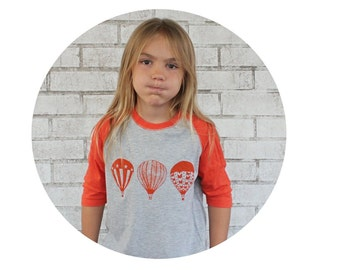 Hot Air Balloon Baseball Tshirt, Youth Raglan Tee Shirt, Ladies Top, Mens Clothing, Juniors Shirt Toddler T Shirt Orange and Grey Ballooning