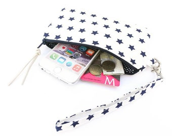 Wristlet Zipper Pouch, Gift for her, iPhone Pouch wristlet, Wallet Zipper Pouch with Removable Wrist strap, Cell phone Pouch wristlet Stars