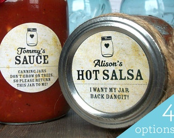 Vintage Return Jar canning labels, custom mason jar stickers will help you get your empty mason jars back! Customized label with YOUR name