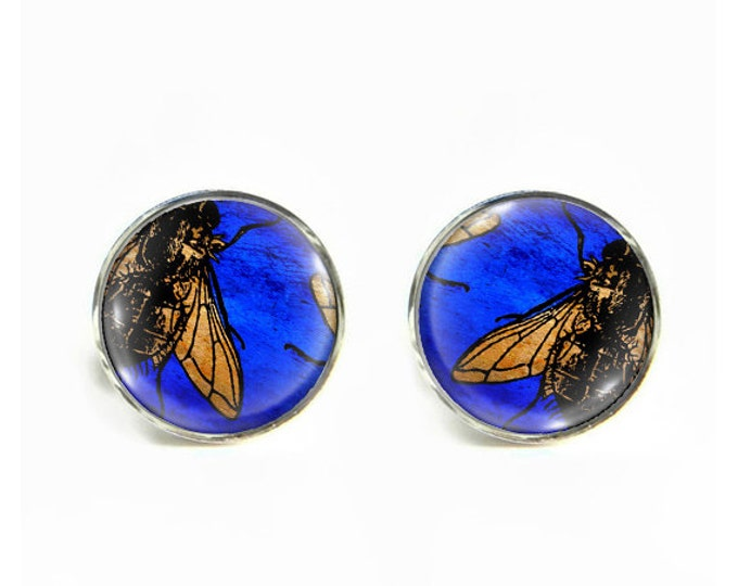 Flies small post stud earrings Stainless steel hypoallergenic 12mm fly Gifts for her