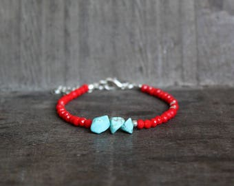 Red Faceted Turquoise Colored Chip Beaded Bracelet