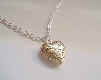 Heart Locket Necklace Mothers Day Jewelry Gold Heart Locket Pendant