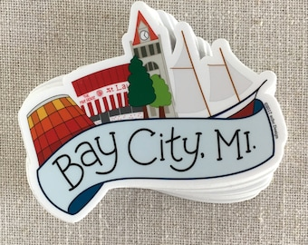 Bay City Michigan Vinyl Sticker / Michigan Sticker / Water Bottle Sticker / Fun Laptop Sticker / Cute Waterproof Sticker / Travel Sticker