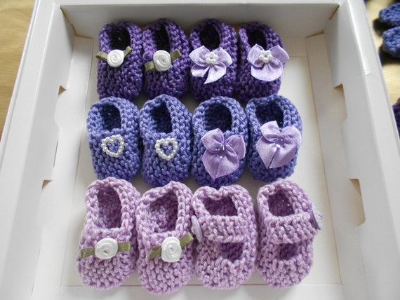 Girl Baby Shower Decorations: 4 Pairs Hand Knit Mini Bootie Decorations   2  Inches   Shades Of Lavender/ Lilac/ Purple, Spring Colors