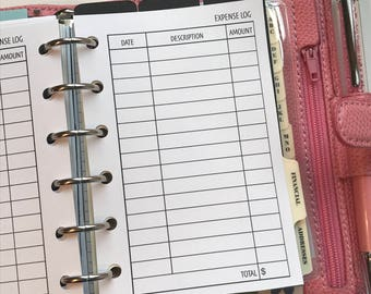 Expense Log Planner Inserts | Pocket Size Planner