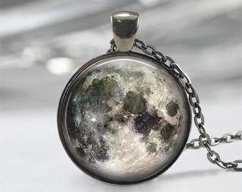 Full Moon Necklace - Full Moon Jewelry Full Moon Pendant Full Moon Charm Space Necklace Space Jewelry Universe Necklace Galaxy Necklace Gift