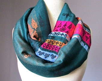 Ethnic Ornament scarves, Jade green infinity scarf, pashmina scarf, handmade women accessories