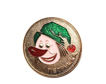 Vintage clown pinback button Russian Circus Petrushka enamel pin Soviet children's pin Clown Badge Collectibles USSR Cartoon Pin Hipster pin