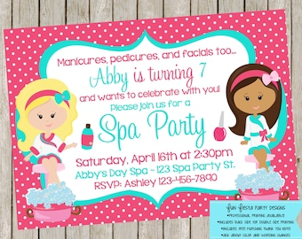 SPA party invitation with matching thank you note