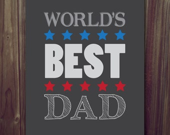 World's Best Dad Wall Art Print 8x107 inches | UNFRAMED | Perfect Father's Day Gift Grey