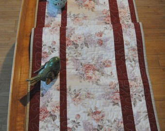 Quilted Table Runner, Romantique Reversible Table Runner. Unique Victorian Roses Table Runner.