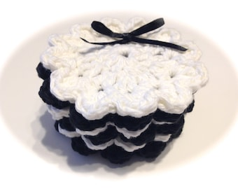 Black And White Crocheted Face Scrubbies-Miniature Set Of Six