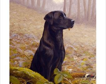 Black Labrador Dog Portrait by award winning artist JOHN SILVER. Personally signed A4 or A3 size Print. BL007SP