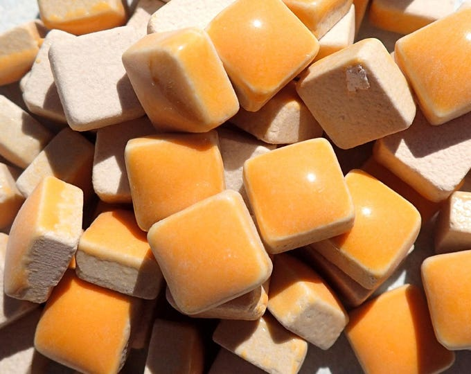 Orange Small Square Mosaic Tiles 1 cm Ceramic  - Half Pound in Orange Creamsicle