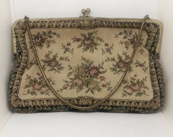 Antique Vintage 1920 's floral Cross Stitch Tapestry Vienna-Austrian Golden frame purse/handbag/Wallet