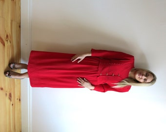 Vintage 1980s Crimson Red Long Tie Up Dress Long Sleeve Pleated Skirt Hot red Dress Large Size
