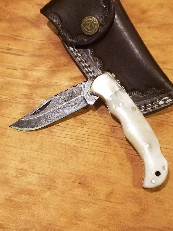 Handmade Bone Handle Folding Pocket Knife Damascus Blade Collection With Leather Sheath Premium (K22)
