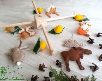 Baby Mobile Moose, Baby Mobile, Forest Mobile, Woodland Baby Mobile, Animal Crib Mobile, Nursery Decoration, Rabbit, Fox, Acorn Mobile