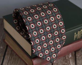 Vintage silk tie, helfers mens necktie, silk neck tie, cravat cravatte / burgundy red green classic