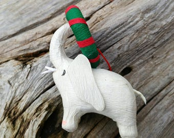 Handmade Paper Mache White Elephant Christmas Ornament