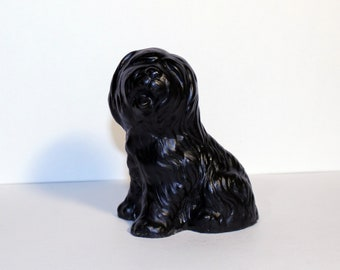 Classique Dog Sculpture Made with Coal, Made in Great Britain, Puli Dog Figure, Black Dog Figure