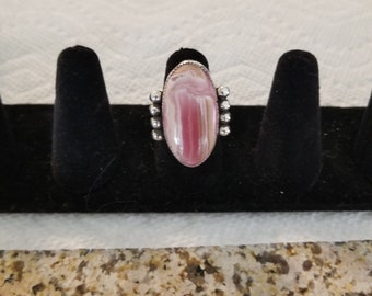 sterling silver, hand made, rhodachrosite, one of a kind, unisex, statement ring, avant garde us size 6.76, scarab theme, free style