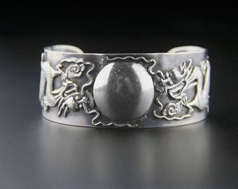 Sterling Silver Dragon Cuff, Chinese Export, Sterling Silver Cuff, Statement Cuff, Dragon Bracelet, Dragon Jewellery, Chinese Dragon