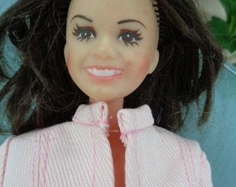 Vintage 1970's Celebrity Marie Osmond Mattel Doll sparkle trims hand made pink diva pant suit brunette hair by Jeansvintagecloset