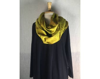Infinity Boho Loop Circle Scarf - Desert Yellow Linen w/ Asian Art  Hand printed Scarves  Ready to Ship