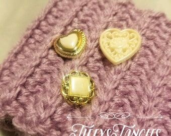Purple Ear Warmer Headband with Buttons