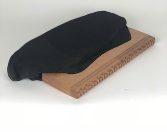 Beautiful 1940s black faille and wood clutch purse