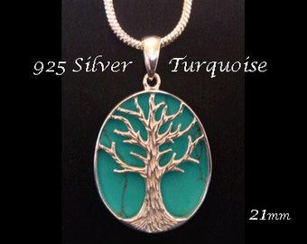 Tree of Life Necklace: Turquoise Inlay Sterling Silver Tree of Life Pendant with 925 Silver Tree. Tree of Life Necklace TOLP032-21