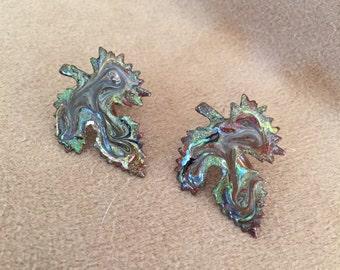 Vintage Leaf Earrings, Clip On Earrings, Vintage Copper Enamel Earrings, Green and Brown Leaf Earrings, Fall Colors, Handcrafted