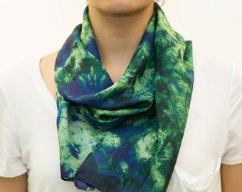 Green and Blue Abstract Organic Pattern Hand Dyed Shibori Silk Scarf - A103