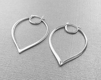 Hoop Earrings, Sterling Silver, Large Flat Hoops, Anti-Tarnish, Simple Modern, 32mm x 46mm, EWRS032