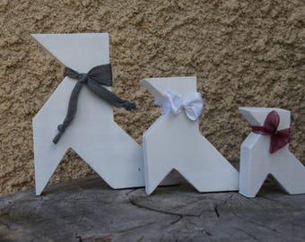3 wooden way origami cranes