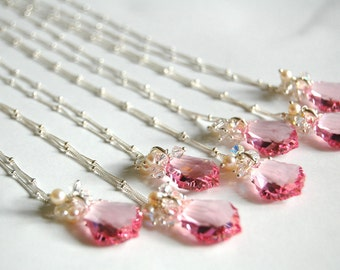 Pink Crystal Necklace, Sterling Silver, Rose Baroque Swarovski Crystal, Freshwater Pearls, Design Your Own, Fancy, Bridesmaids