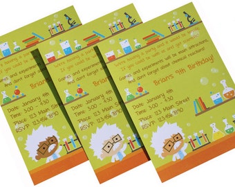 Custom Science Birthday Party Invitations and Thank You Notes