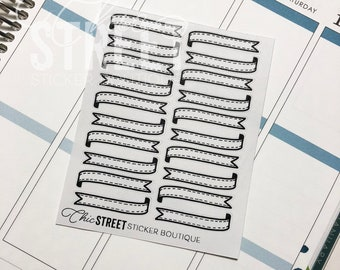Ribbon Dividers: Single Ribbon | Hand Drawn Stickers | Planner Stickers